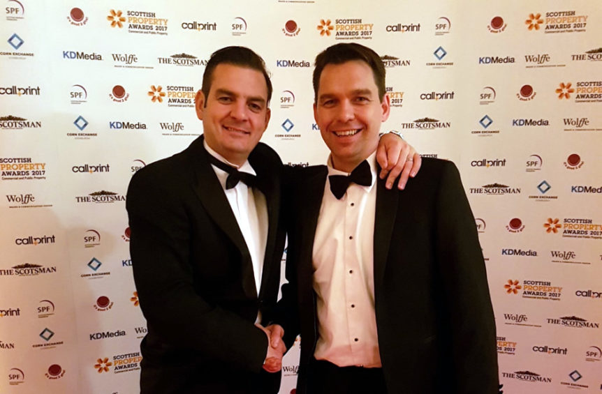 Managing Director at The Swan Group, Phil McGinlay with Colin Duncan, real estate director atFairfield, attending the2017 Scottish Property Awards